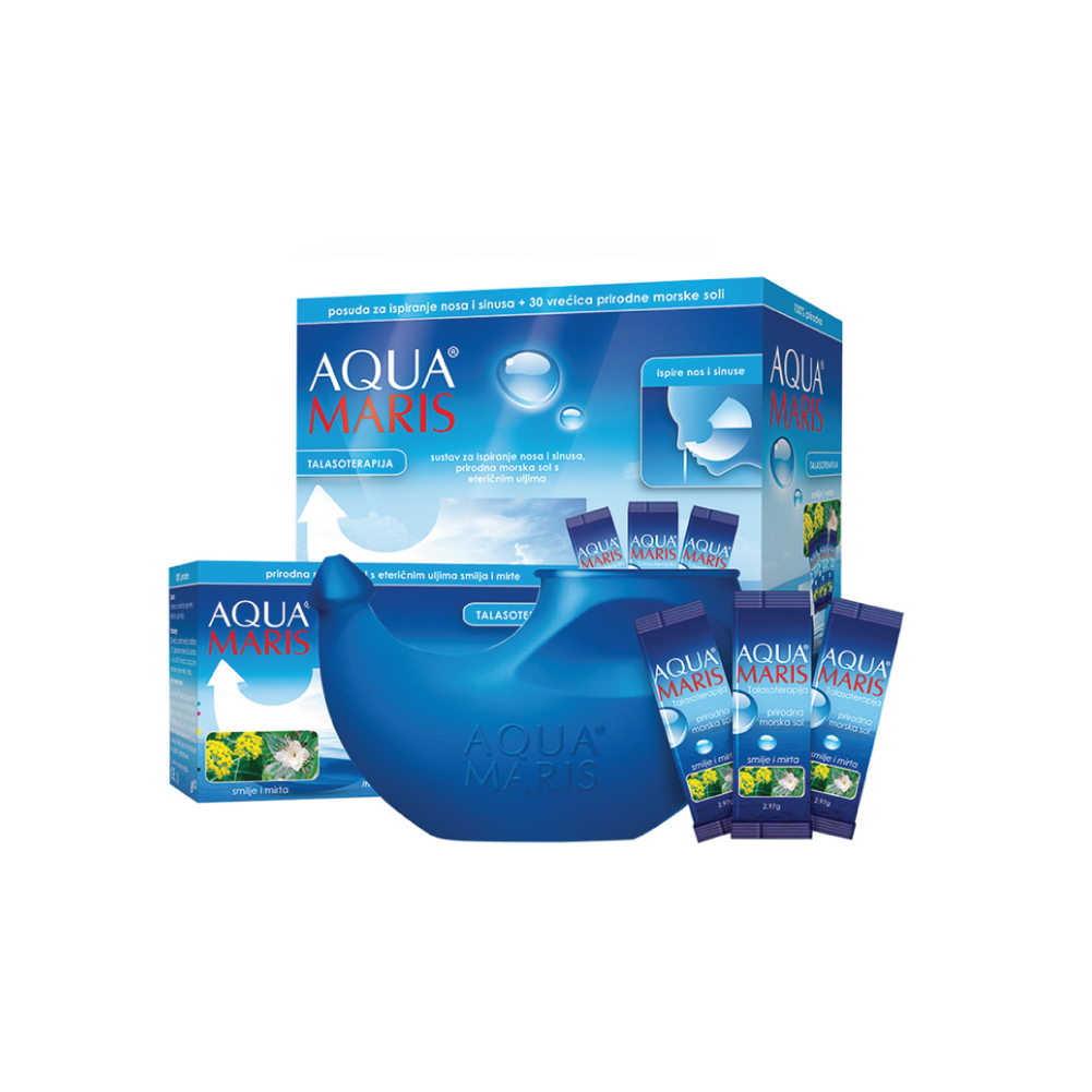 Aqua Maris Talasoterapija Sustav Za Ispiranje Nosa I Sinusa + Vrećice Morske Soli S Eteričnim Uljima