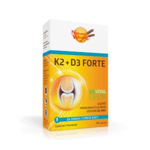 Natural Wealth K2 + D3 Forte 20 Kapsula Za Čvrstoću Kostiju