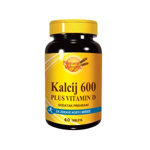 Natural Wealth Kalcij 600 + Vitamin D 60 Tableta Za Kosti I Mišiće