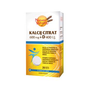 Natural Wealth Kalcij Citrat 600 Mg + D 400 I.j. 20 Šumećih Tableta Za Kosti I Mišiće