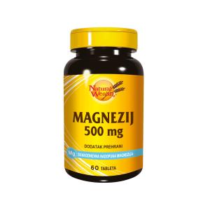 Natural Wealth Magnezij 500 Mg 60 Tableta Kod Stresa, Psihičkih Napora, Grčeva U Mišićima, Žgaravice, Usporebe Probave