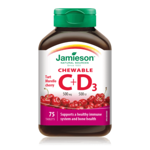 Jamieson, Vitamin C 500mg + Vitamin D 500 Iu, 75 Tableta Za Žvakanje S Okusom Trešnje