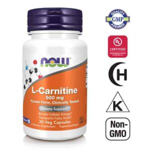 Now Foods, L Carnitine 500 Mg, 30 Vege Kapsula, Klinički Testiran