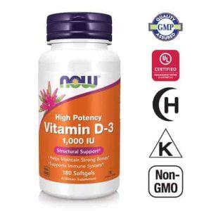 Now Foods, Vitamin D 3, 1000 Ui, 180 Kapsula