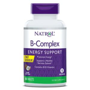 Natrol, B Complex Fast Dissolve, 90 Tableta Za Žvakanje, Okus Kokosa